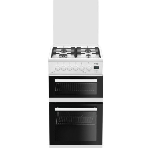 Beko EDG506 50cm Twin Cavity Gas Cooker with Glass Lid White